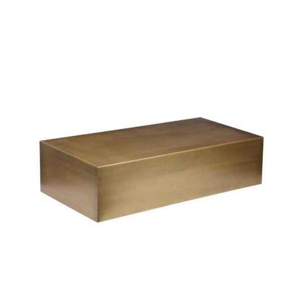 47 in. Gold Large Rectangle Metal Coffee Table