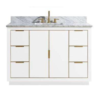 Austen 49 in. W x 22 in. D Bath Vanity in White with Gold Trim with Marble Vanity Top in Carrara White with White Basin
