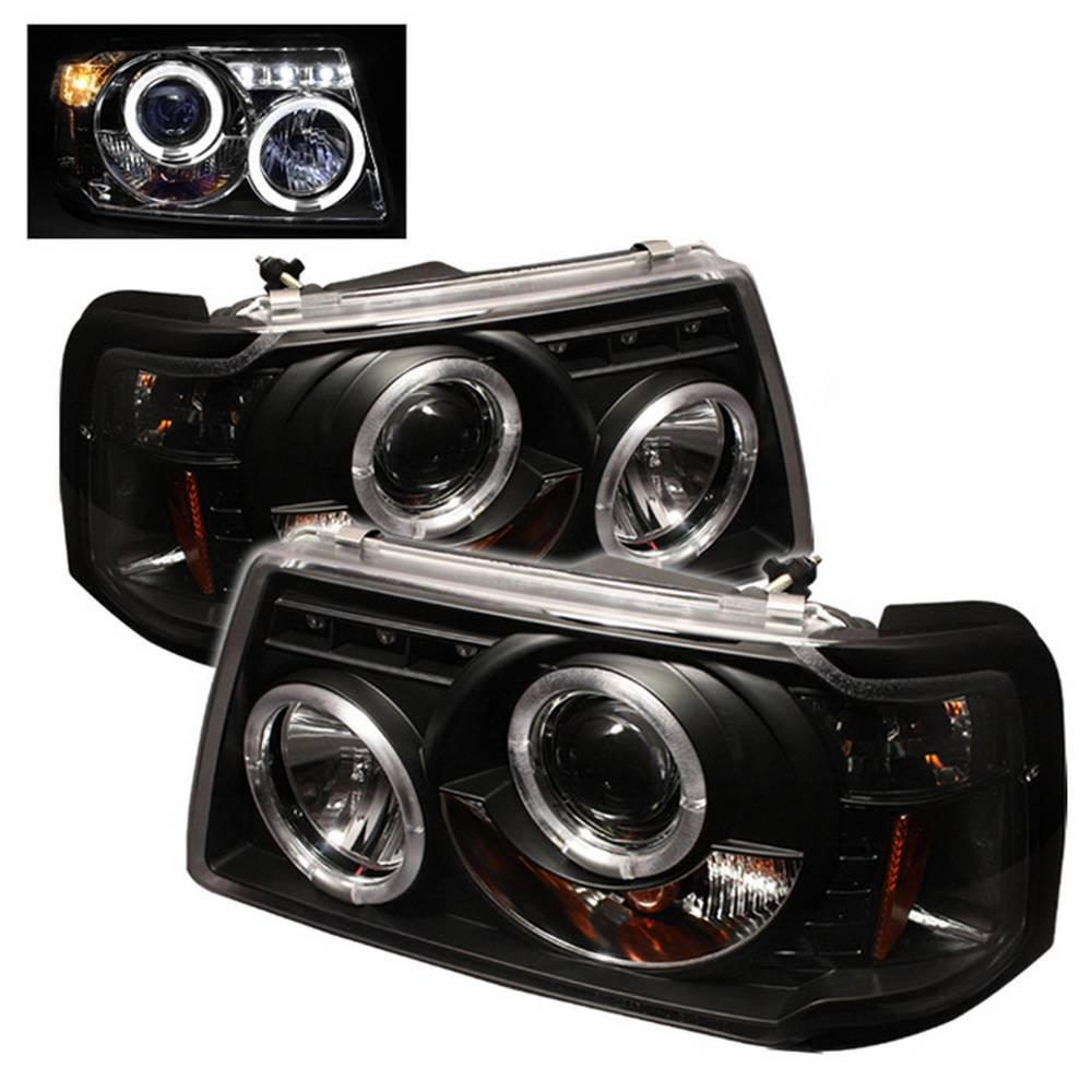 Ford Ranger 01 11 1pc Projector Headlights Led Halo Replaceable Leds Black