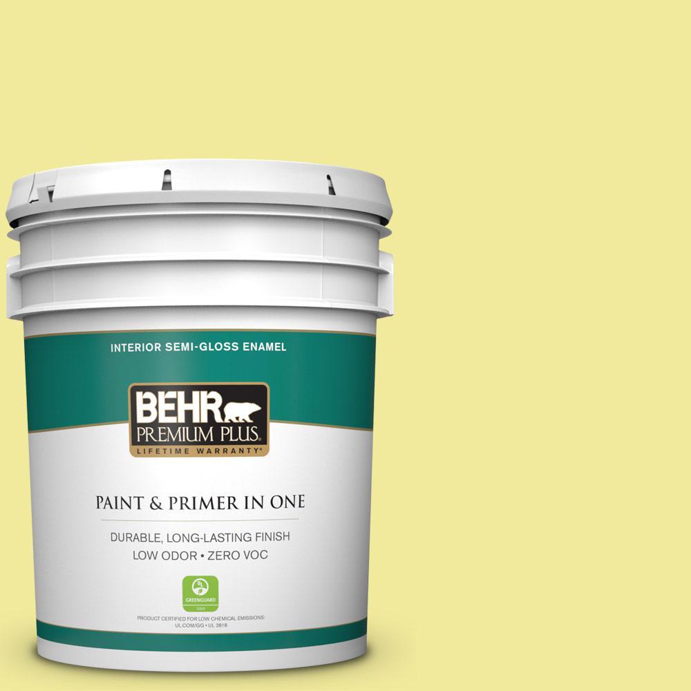 BEHR Premium Plus 5-gal. #400A-3 Pear Zero VOC Semi-Gloss Enamel Interior Paint