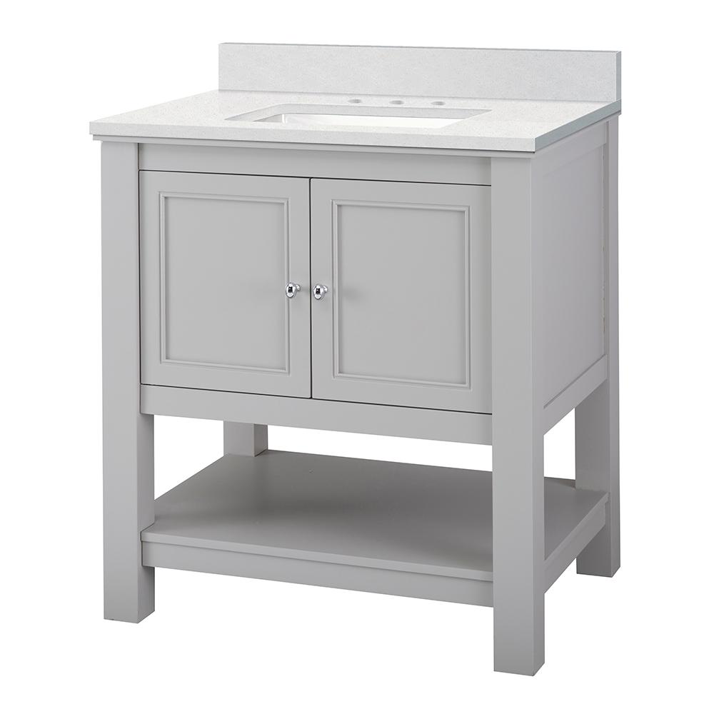 Home Decorators Collection Gazette 31 in. W x 22 in. D Vanity Cabinet in Grey with Engineered Marble Vanity Top in Snowstorm with White Sink was $599.0 now $419.3 (30.0% off)