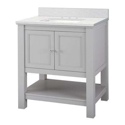 Gazette 31 in. W x 22 in. D Vanity Cabinet in Grey with Engineered Marble Vanity Top in Snowstorm with White Sink