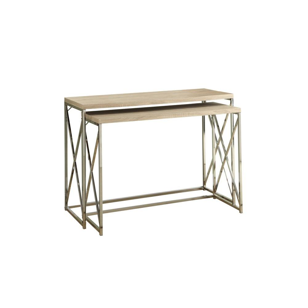 Monarch Specialties Reclaimed-Look/Chrome Metal Console Table in Natural (2-Piece)