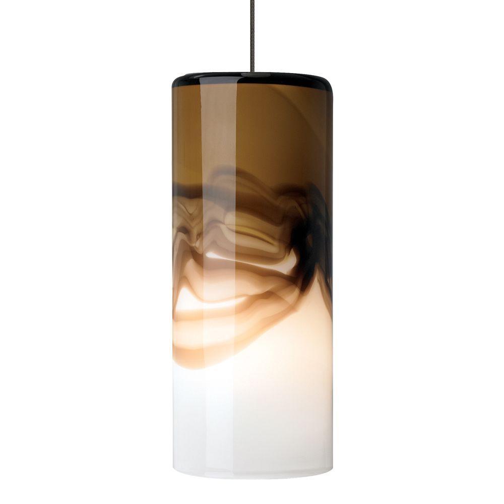 LBL Lighting Rio 1-Light Bronze LED Mini Pendant with Brown/Gray Shade