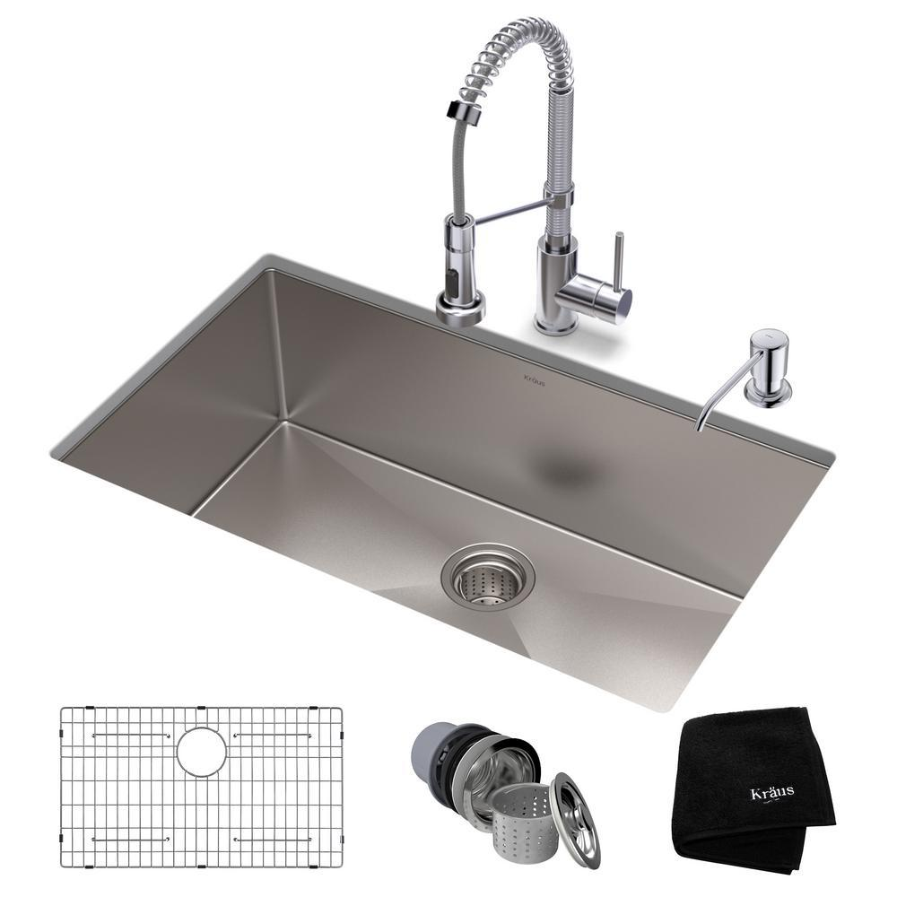 Kraus Standart Pro All In One Undermount Stainless Steel 32 Single Bowl