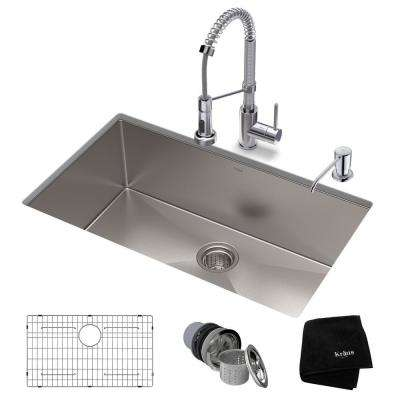 Standart PRO All-in-One Undermount Stainless Steel 32 in. Single Bowl Kitchen Sink with Faucet in Chrome