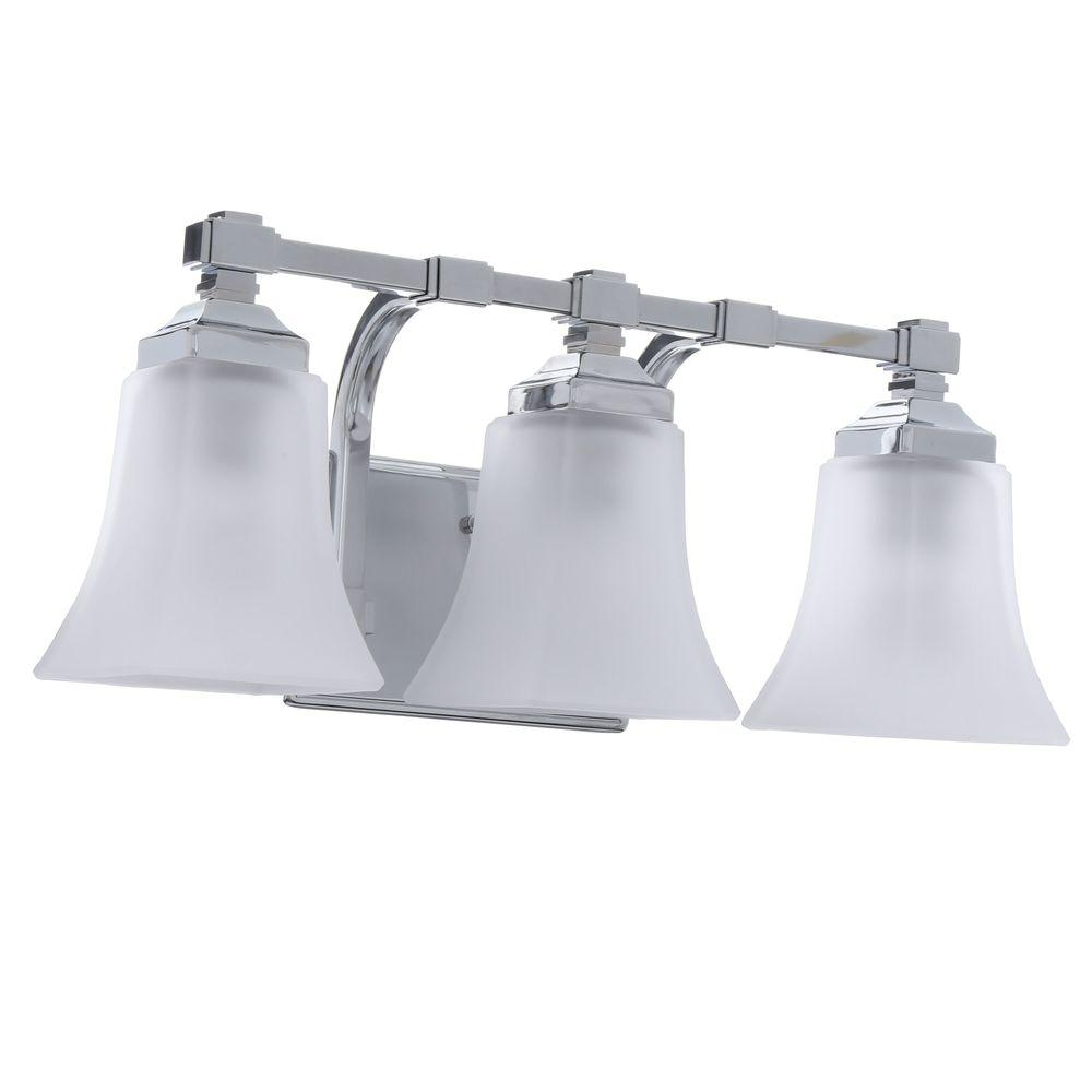 Elegant Hampton Bay 3 Light Chrome Vanity Light With Etched Glass Shades