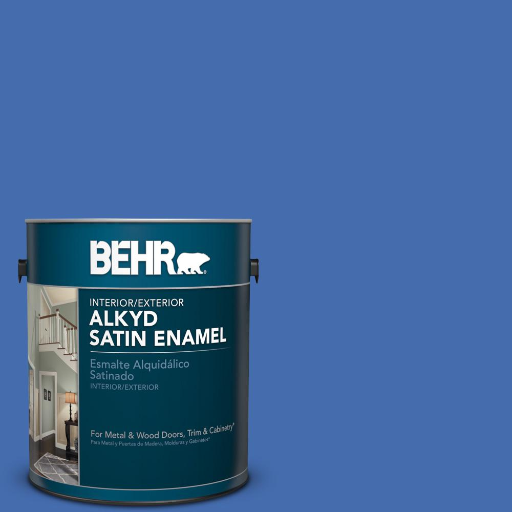 1 gal. #PPU15-5 New Age Blue Satin Enamel Alkyd Interior/Exterior Paint