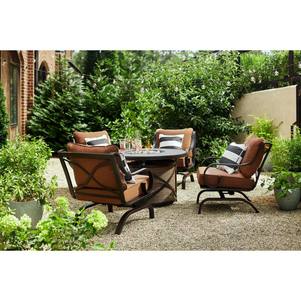 Hampton Bay South Grove Chocolate Brown Aluminum Stationary Rocking Outdoor Lounge Chair with Cashew Cushions (4-Pack)