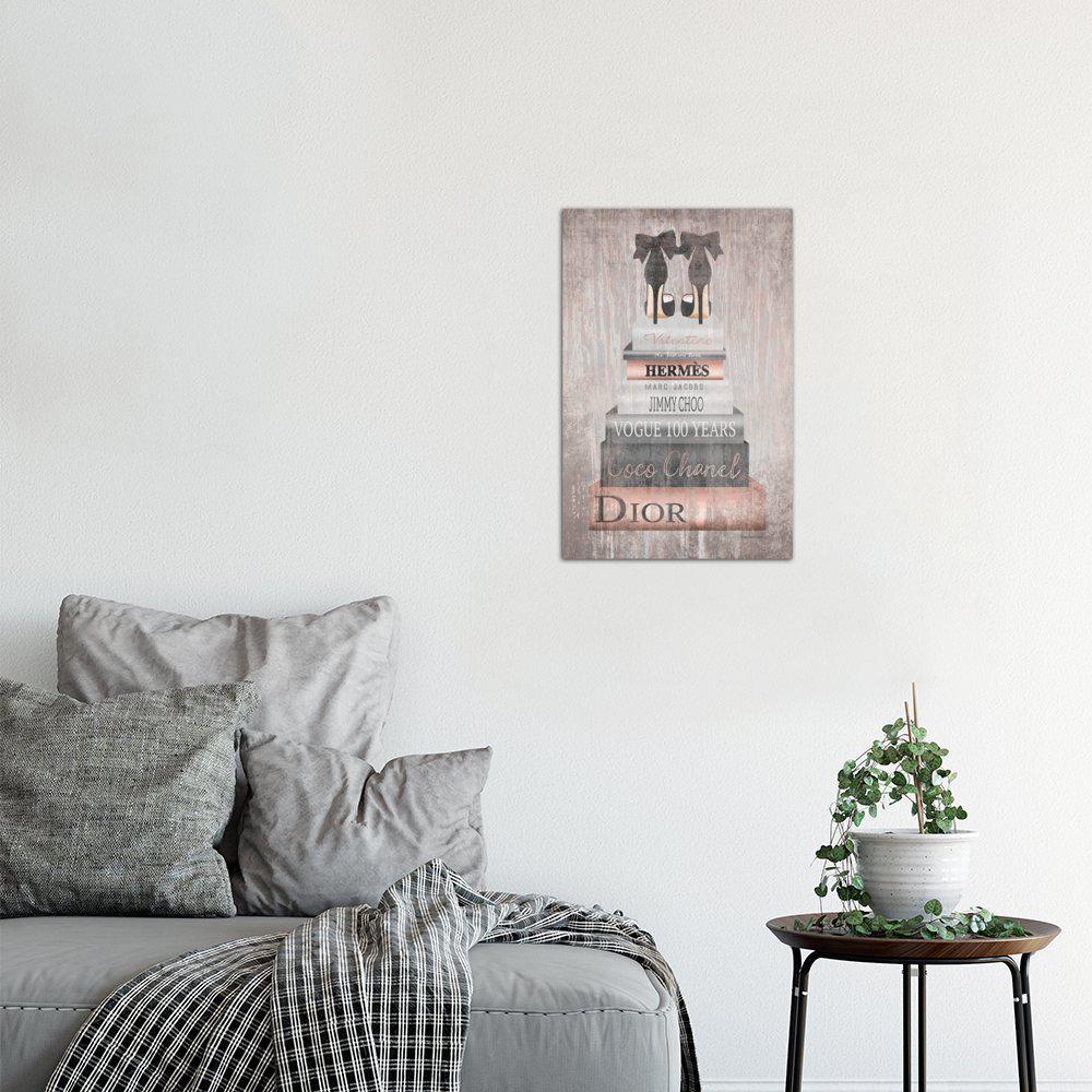 Bookstack Metallic Rose Gold by Amanda Greenwood Wall Art