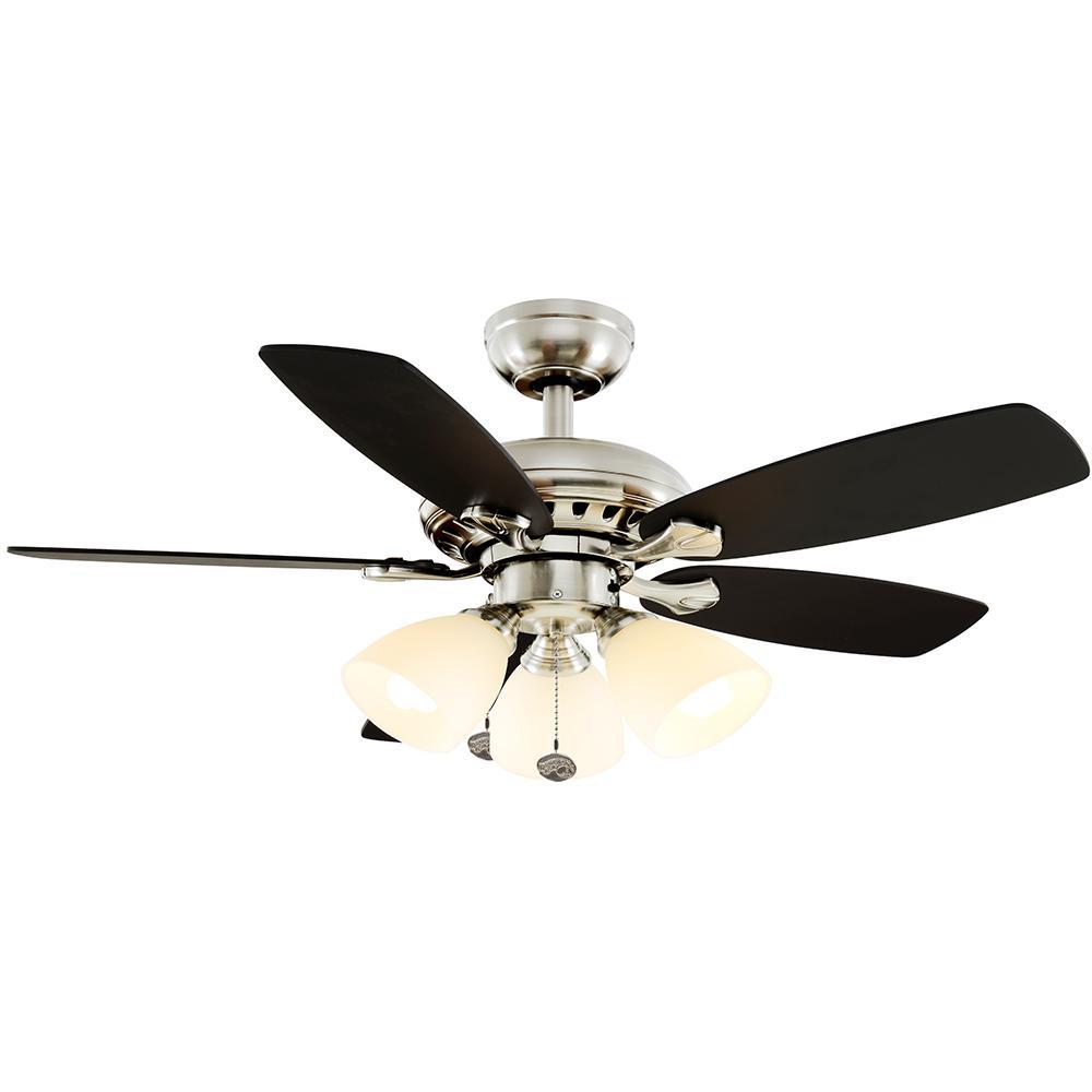 Hampton Bay Luxenberg 36 In Led Brushed Nickel Ceiling Fan