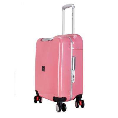 SEAT-ON 20 in. Pink Hardside Aluminum Frame Carry-on with Spinner Wheels