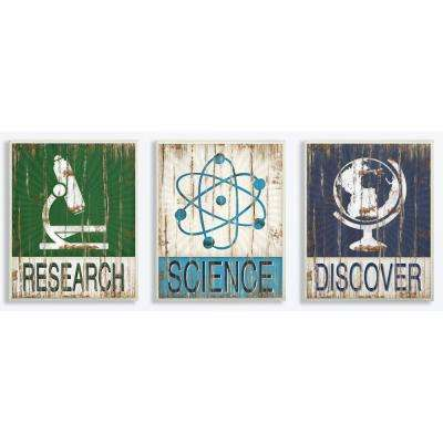 """10 in. x 15 in. """"Research Science Discover"""" by Jennifer Pugh Printed Wood Wall Art"""