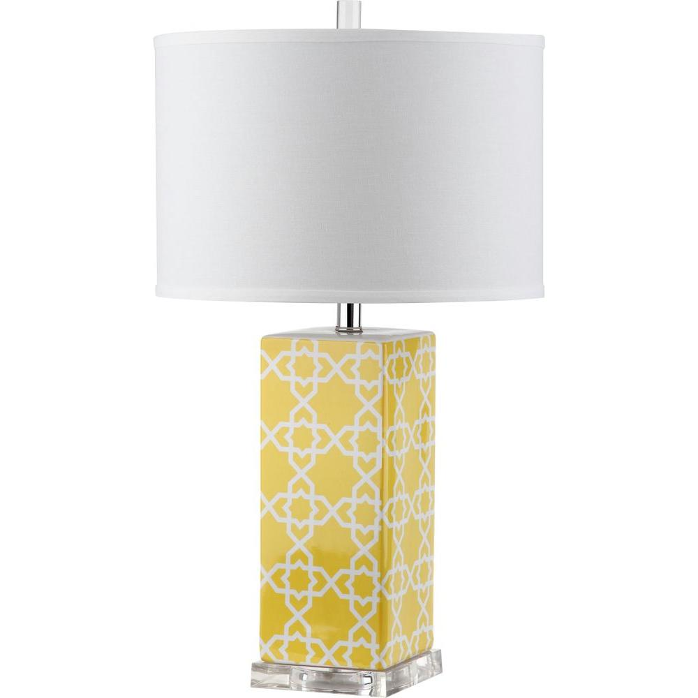 Safavieh Quatrefoil 27 In. Yellow Table Lamp With White Shade
