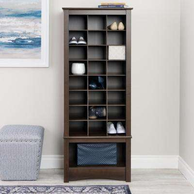 24.75 in. x 61.25 in. Tall 24-Cube Cabinet Tower Organizer in Espresso