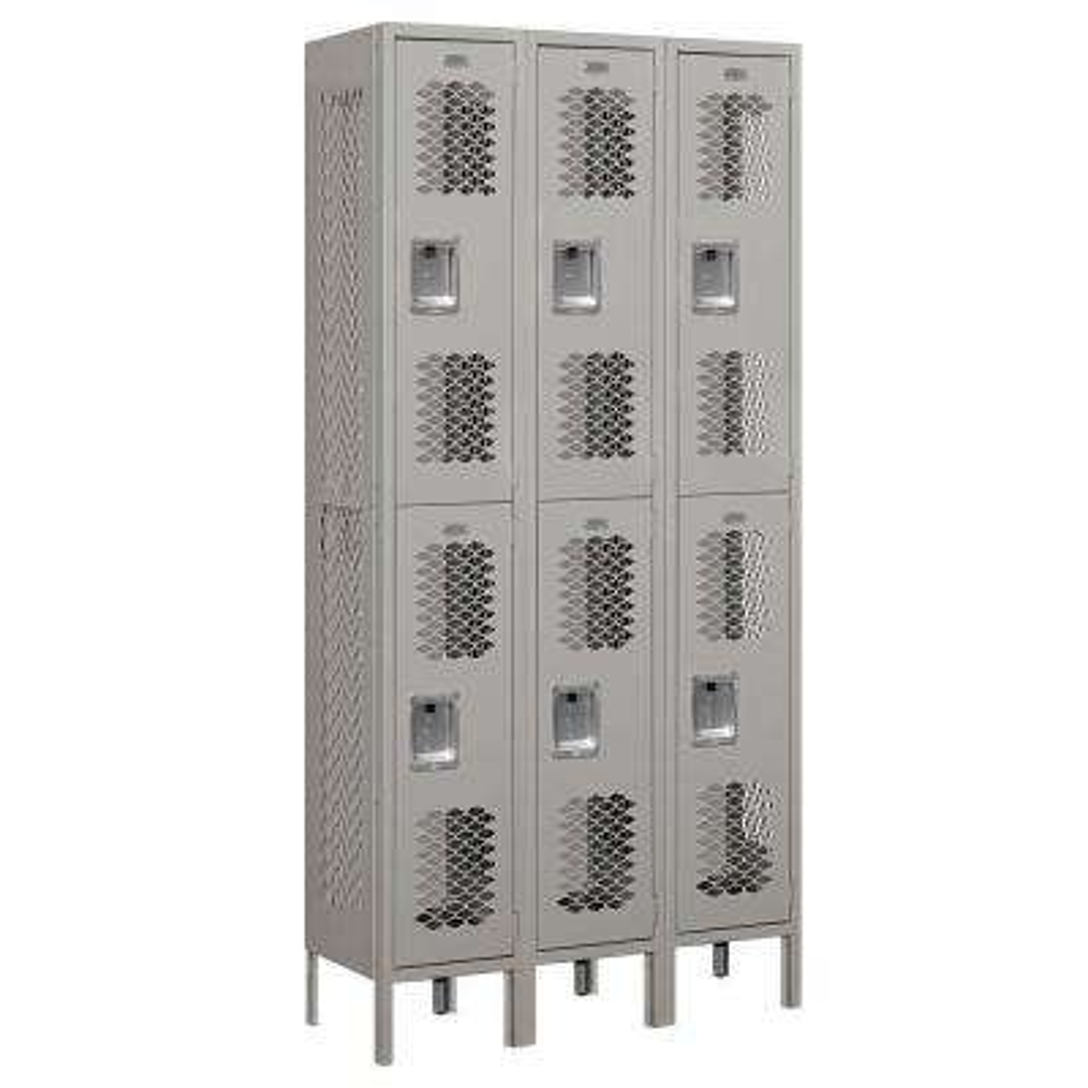 72000 Series 36 in. W x 78 in. H x 12 in. D Double Tier Vented Metal Locker Assembled in Gray
