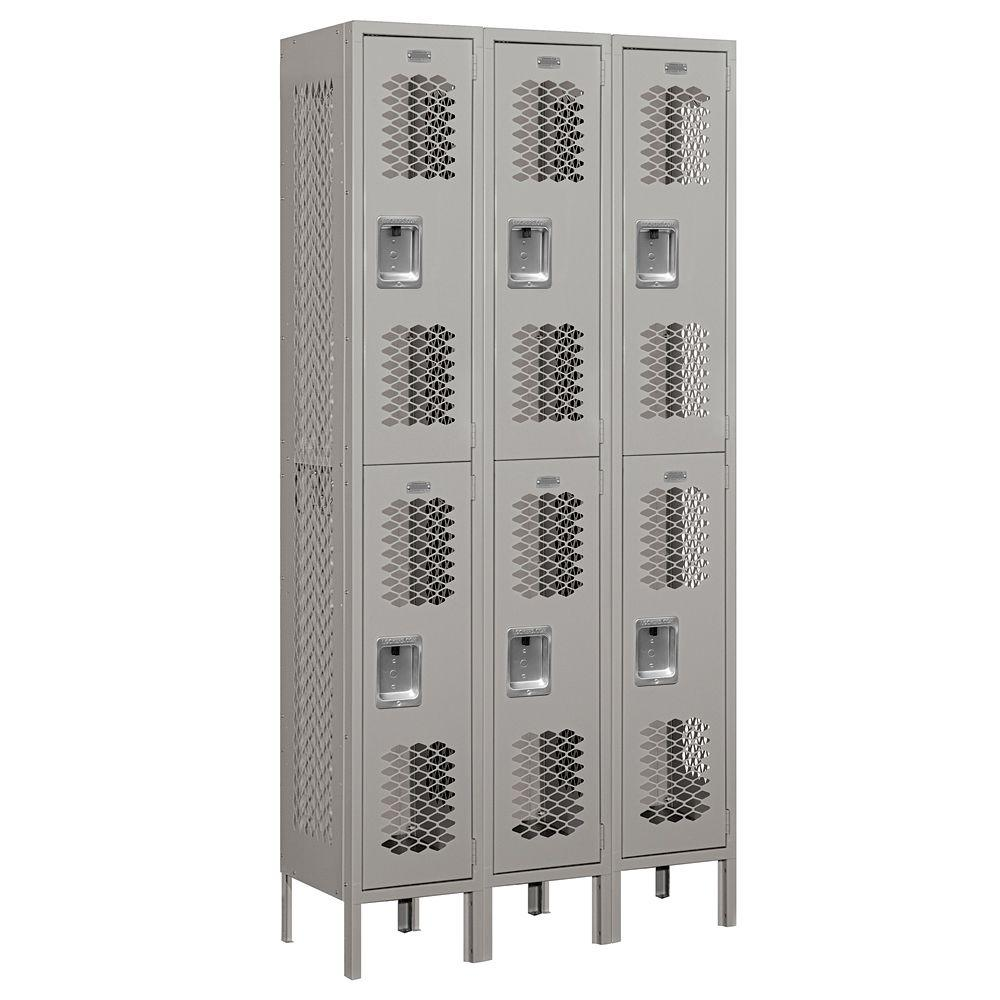 Salsbury Industries 72000 Series 36 in. W x 78 in. H x 12 in. D Double Tier Vented Metal Locker Assembled in Gray