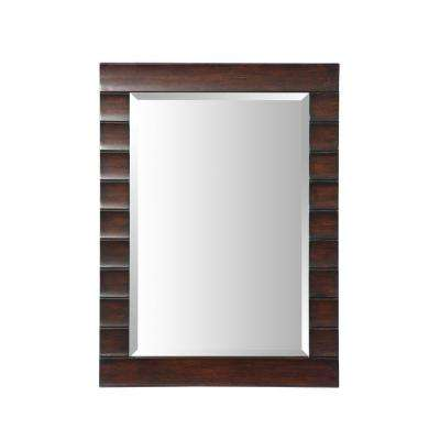 Wave 24 in. W x 33 in. L Wall Mirror in Dark Espresso