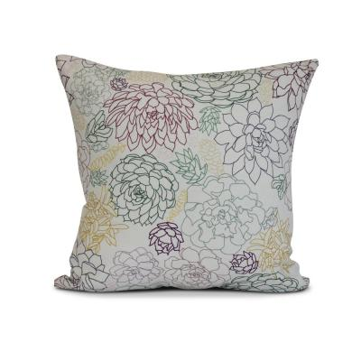 Opal Floral Print Throw Pillow in Purple
