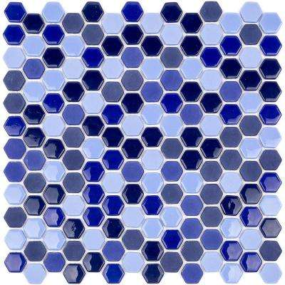 Recoup Hexagon Royale Glass Mosaic Floor and Wall Tile - 3 in. x 6 in. x 6 mm Tile Sample