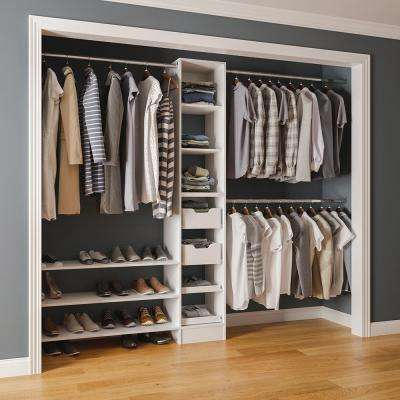 15 in. D x 105 in. W x 84 in. H Melamine Reach-In Closet System Kit in White
