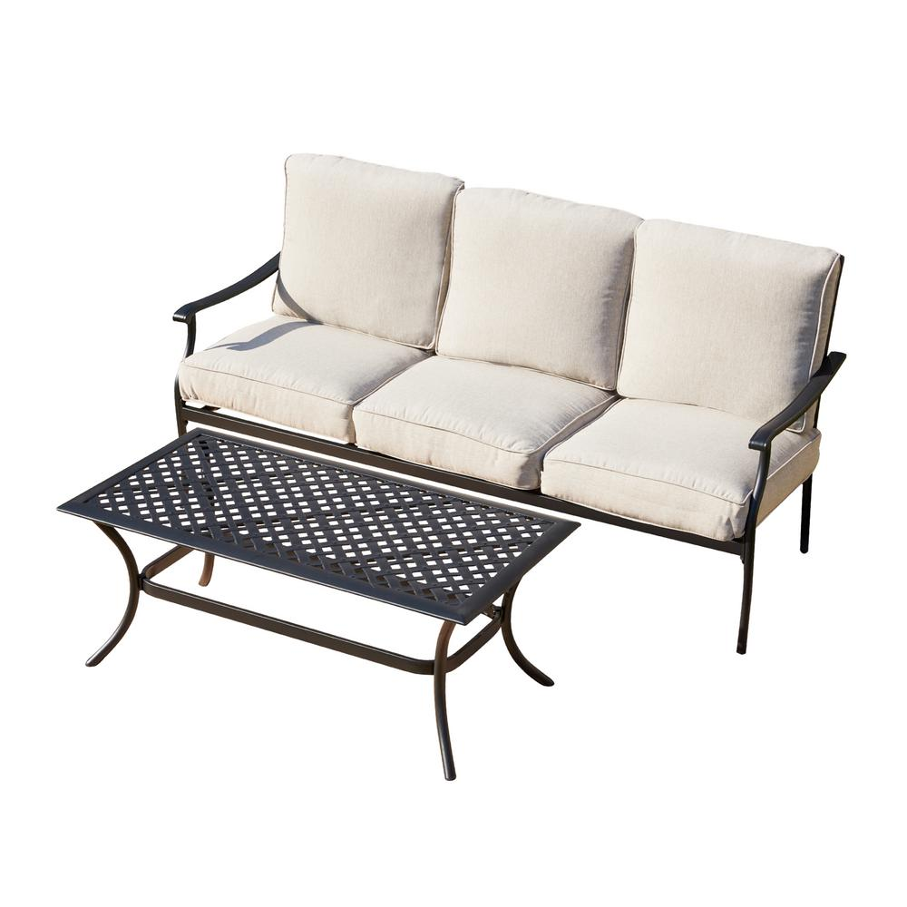 Patio Festival 2-Piece Metal Patio Deep Seating Set with Beige Cushions