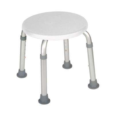 Adjustable Height Bath Stool in White