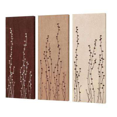 "Catherine 32 in. x 12 in. ""Flower Bud"" Embroidery on Suede Wall Art"