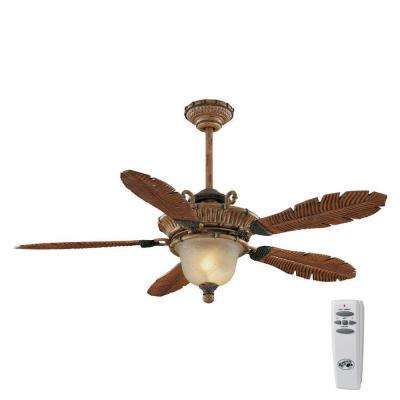 Tropics 54 in. Indoor Weathered Cane Ceiling Fan with Light Kit and Remote Control