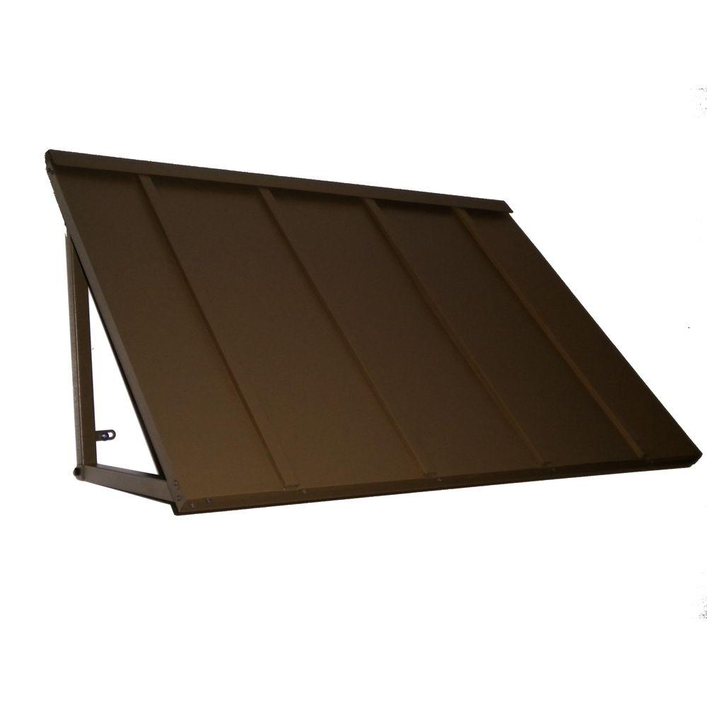 AWNTECH 4 ft. Houstonian Metal Standing Seam Awning (24 in. H x 24 in. D) in Bronze