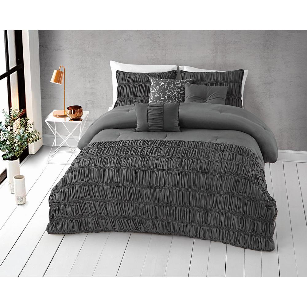 Harley 6-Piece Steel Grey King Comforter Set 18-4005 TPX