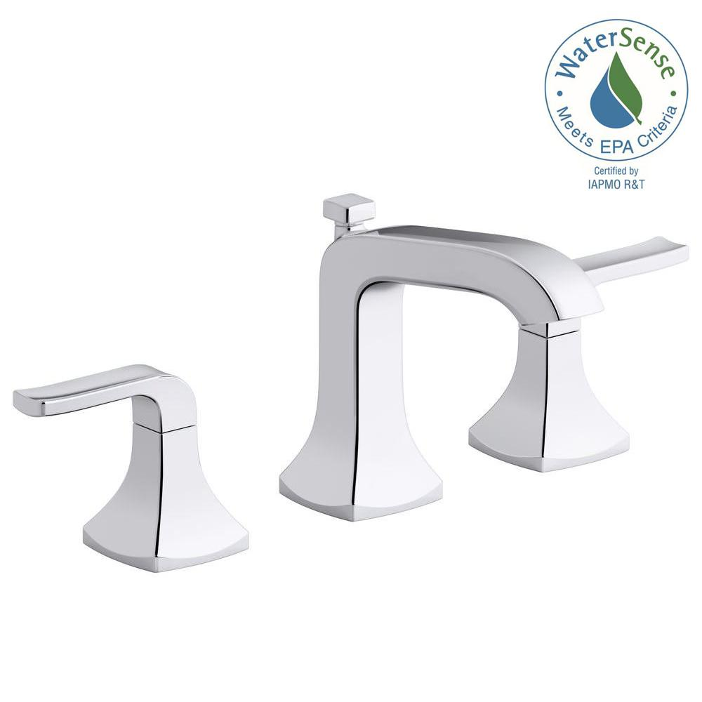 Kohler Rubicon 8 In Widespread 2 Handle Bathroom Faucet Polished Chrome