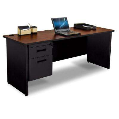 72 in. W x 24 in. D Mahogany Laminate and Black  Single Pedestal Credenza