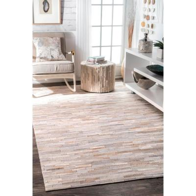 Clarity Patchwork Cowhide Beige 8 ft. x 10 ft. Area Rug