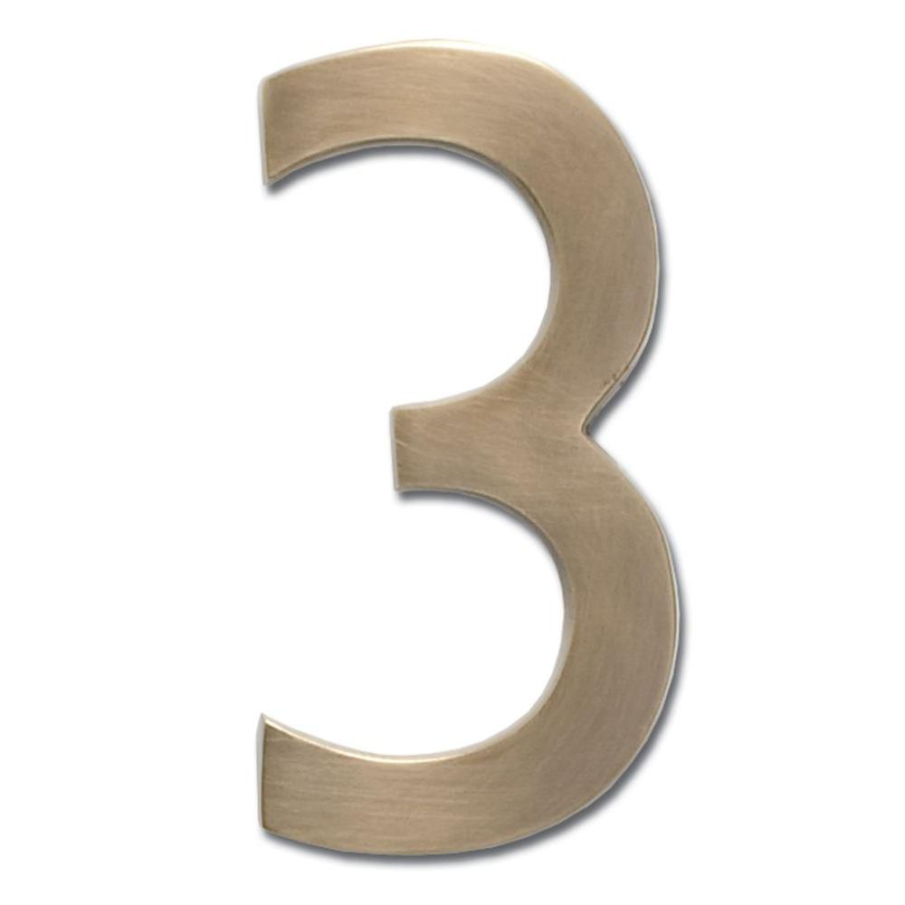 5 in. Antique Brass Floating House Number 3