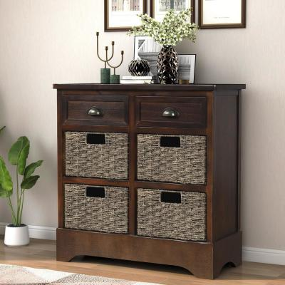 Espresso Rustic Storage Cabinet with 2-Drawers and 4-Classic Fabric Basket