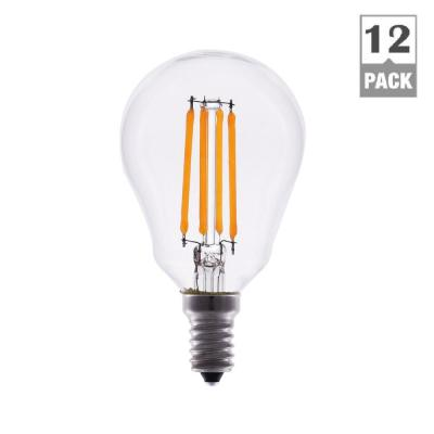TriGlow 40-Watt Equivalent A15 Dimmable Clear Glass Filament LED Light Bulb Warm White 2700K (12-Pack)