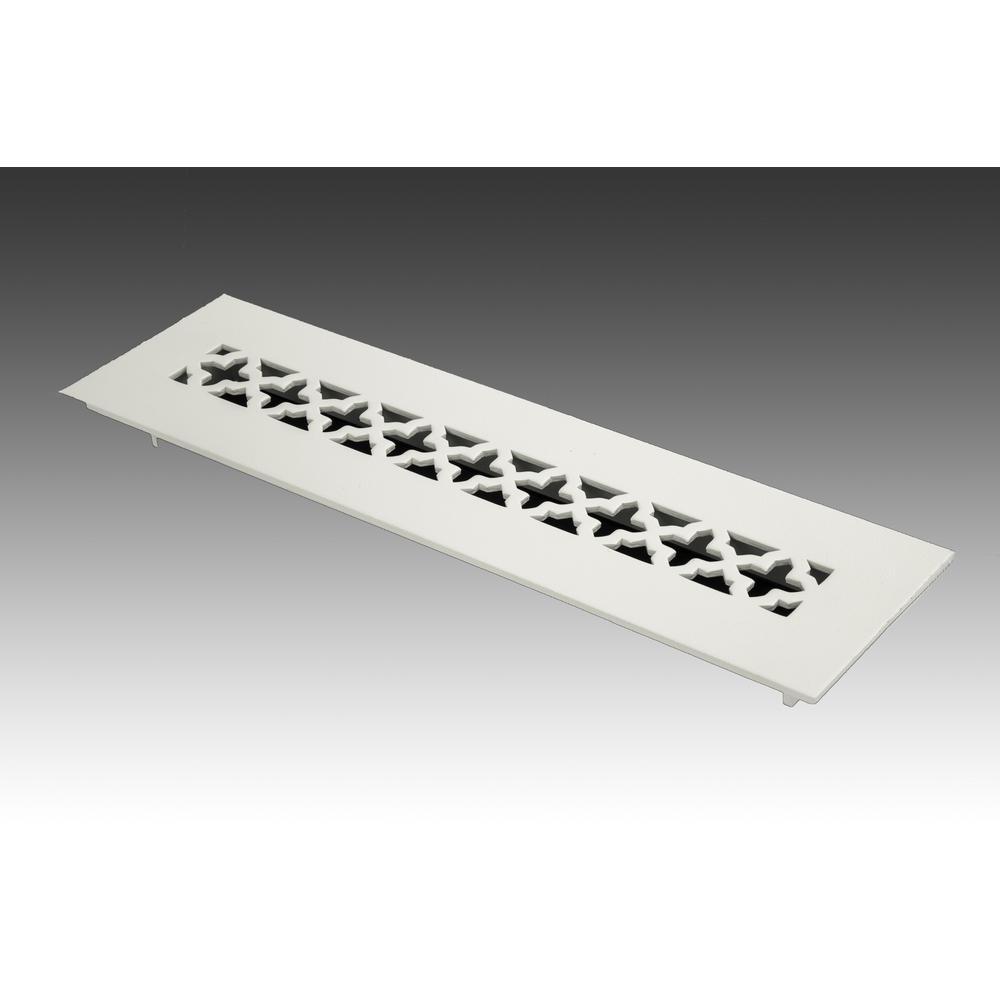 12 in. x 2.25 in. White Poweder Coat Steel Floor Vent with Opposed Blade Damper