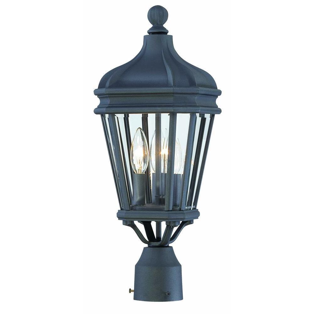Harrison 3-Light Black Outdoor Post Lantern