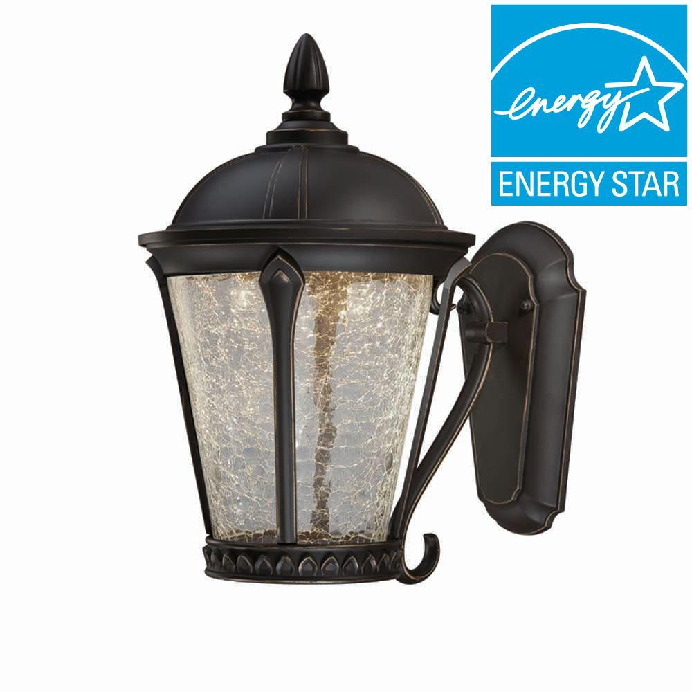 Home Decorators Collection Aged Bronze Patina Outdoor LED Wall Lantern