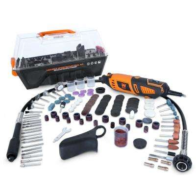 Variable Speed Steady-Grip Rotary Tool with 190-Pieces Accessory Kit Flex Shaft and Carrying Case