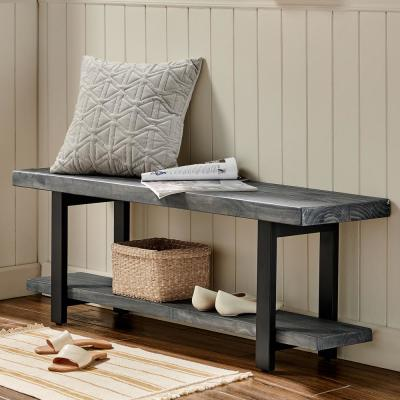 Pomona Metal and Reclaimed Wood Bench, Slate Gray
