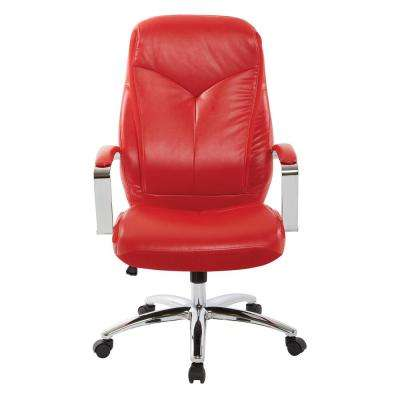 Clifton Red Faux Leather Office Chair With Red Mesh