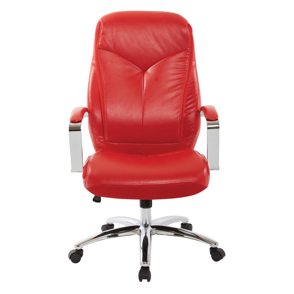 Osp Home Furnishings Clifton Office Chair With Red Mesh And Red Faux Leather With Chrome Base Bp Clfex U9 The Home Depot