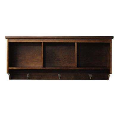 Wellman 8.5 in. W x 38 in. L Wall Shelf with 3-Hooks in Espresso
