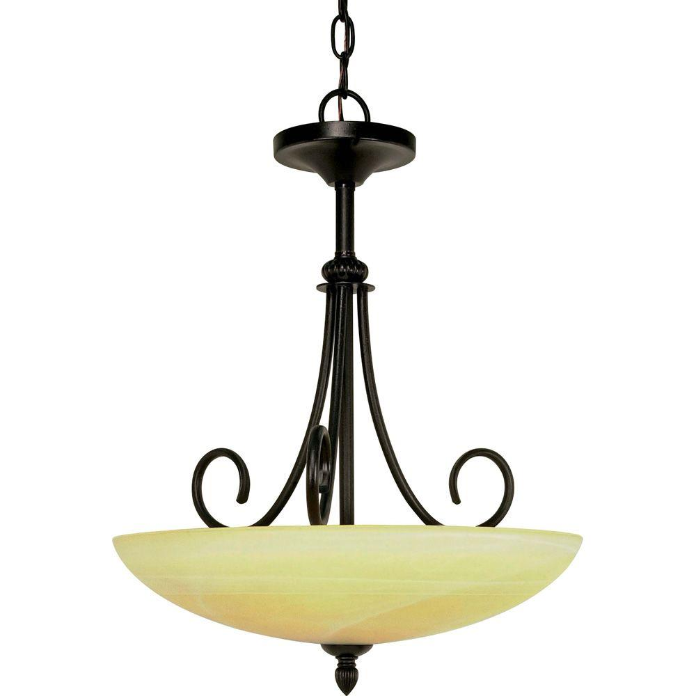 Glomar Vanguard Textured Black 3 Light Pendant With Gold Washed Alabaster Swirl Swirl Glass-DISCONTINUED