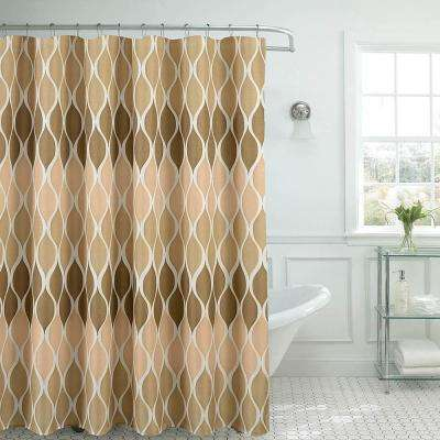 Clarisse Faux Linen 70 in. x 72 in. Linen Textured Shower Curtain with 12-Metal Rings