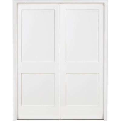 60 in. x 80 in. 2-Panel Square Shaker White Primed Solid Core Wood Double Prehung Interior Door with Nickel Hinges