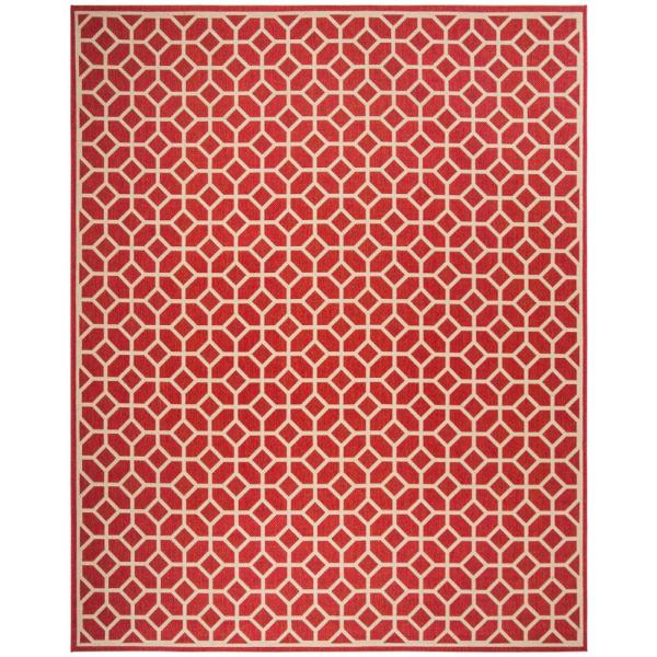 Safavieh Beach House Red Cream 9 Ft X 12 Ft Indoor Outdoor Area Rug Bhs127q 9 The Home Depot