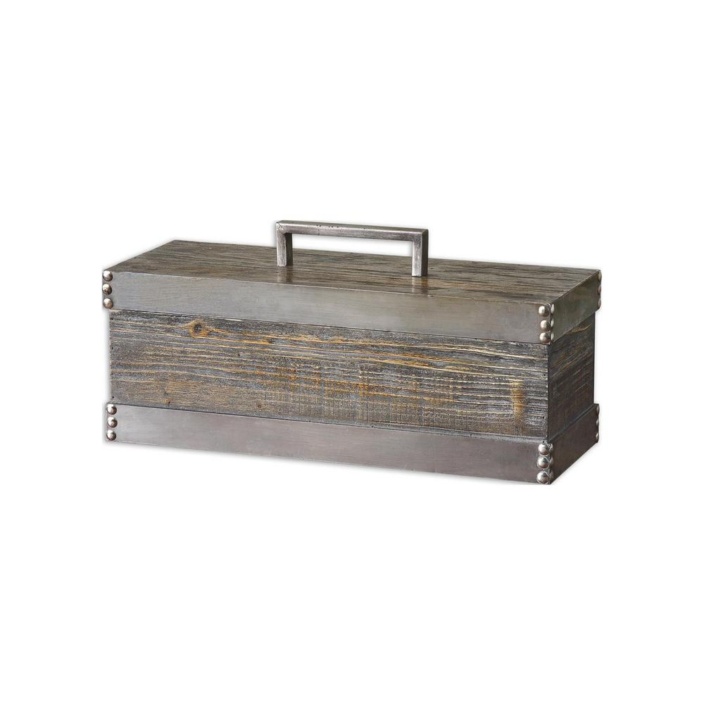 Global Direct 18 in. x 8.75 in. Wood Decorative Box in Light ...